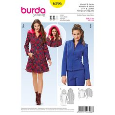 The short hooded coat is a chic fitted coat with a zipper and fur trim on the hood. This coat is sure to catch attention! On the other hand, the zipped jacket with a stand-up collar is a true classic and will always be in fashion. A Burda Style sewing pattern. A Burda Style sewing pattern.