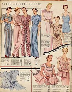 1930s sleepwear, nightgowns, pajamas. Old Hollywood style.