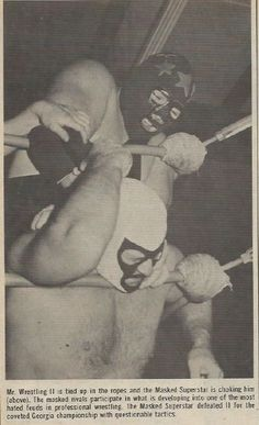 The Masked Superstar chokes out Mr. Wrestling 2