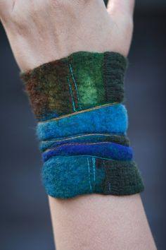 Nuno felted cuff  Felt bracelet  wrist warmer   by FeuerUndWasser