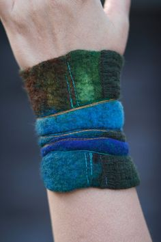 Nuno felted cuff - Felt bracelet - wrist warmer -  Felted Cuff - Wrap Around