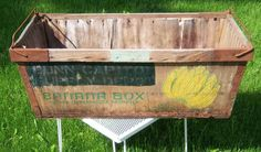 Vintage Long Wooden Banana Box w/Metal Corners and Handles Nice Rustic/Patina!