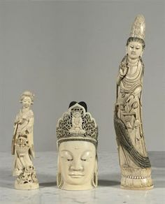 CHINESE IVORY CARVING | CHINESE IVORY CARVING OF A GUANYIN HEAD, A FIGURE OF A LADY AND A ...
