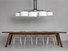 Araña de luces de tela NOON 7 by ZEITRAUM diseño El Schmid