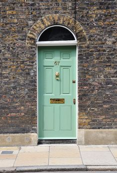 Brass Door Furniture looking good on light green. Click below for door furniture from Priors: http://www.priorsrec.co.uk