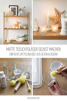 einfach Upcycling Idee aus alten Gläsern und Farbe mit Frost Effekt Hygge, Furniture, Home Decor, Xmas, Creative Ideas, Crafting, Small Bowl, Ideas For Christmas, Upcycling Ideas