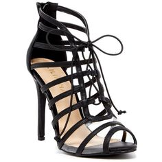 LILIANA Zia Lace-Up Heeled Sandal (34 CAD) ❤ liked on Polyvore featuring shoes, sandals, black, open toe high heel sandals, black caged sandals, caged heel sandals, black heel sandals and black lace up shoes