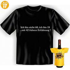 Geschenke Set GoodmanDesign zum 60. Geburtstag lustiges Männer T-Shirt …mit Erfahrung! und BIRTHDAY Flaschenshirt Gr: XXL in schwarz : ) - Shirts zum 60 geburtstag (*Partner-Link)