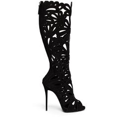 Giuseppe Zanotti Design 'Coline' floral cutout suede knee high boots (3 625 AUD) ❤ liked on Polyvore