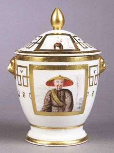 French Old Paris porcelain period Charles X Chinoiserie sugar bowl