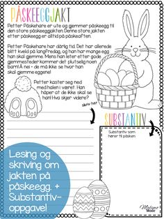 Stjerneskudd med påsketema! Alle lærere kan skrive ut disse oppgavene gratis og ta dem med rett inn i klasserommet! Arbeid med vokaler, ord-assosiasjoner, tallblomster, lesing, skriving og substantiv! Kjekt arbeid mot påske.