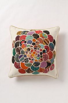 Anthropologie Orimono pillow. Would be fun to DIY using scraps of fabric/thrifted ties, etc.! #pillows #diy