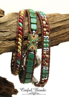 TRIPLE WRAP LEATHER Bracelet-Picasso Superduos-Boho Leather Wrap--Boho Bracelet-Hippie Bracelet-Wrap Bracelet-Southwest-Tribal(TW14) by CinfulBeadCreations on Etsy