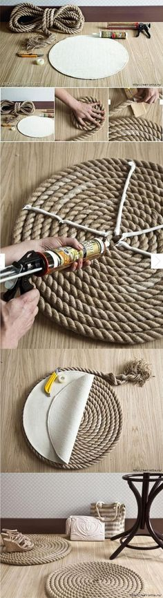 DIY Rope Rug diy craft crafts home decor easy crafts diy ideas diy crafts crafty diy decor craft decorations how to home crafts tutorials repurpose