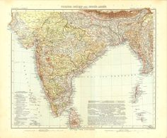 1914 India and Central Asia Antique Map Stieler by CarambasVintage, $25.00