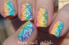 Rainbow stamping over white - how to do multi-coloured stamping