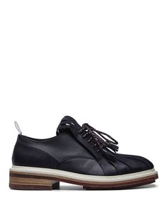 Krisvanassche Navy Leather fringed tongue low top FW14 runway derby-FW14KRIS6 - Sneakerboy