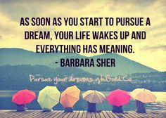 """""""As soon as you start to pursue a dream, your life wakes up and everything has meaning."""" - Barbara Sher"""