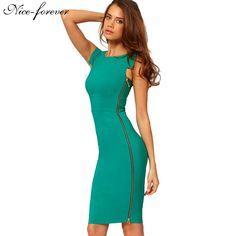 Vintage Wear to Work New Office Summer dress Women's Sleeveless Zipper Bodycon Tunic Casual Wiggle Pencil Formal Dress 563