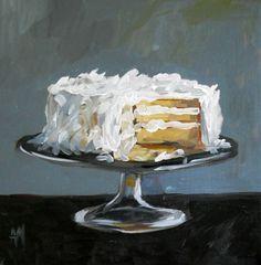 Coconut Cake Art Print by Angela Moulton 10 x 10 inch Food Illustrations, Illustration Art, Acrylic Painting Inspiration, Food Painting, Cupcake Painting, Cupcake Art, Painted Cakes, Still Life Art, Kitchen Art