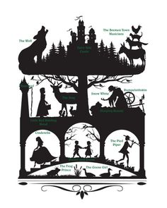 Gebroeders Grimm-sprookjes silhouet Collage digitale Download