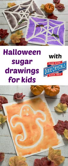 We love easy Halloween crafts for kids like these sugar drawings! Painting over a special sugar mixture reveals a unique design underneath. Great DIY for toddlers, for preschool, or really any age. via @modpodgerocks
