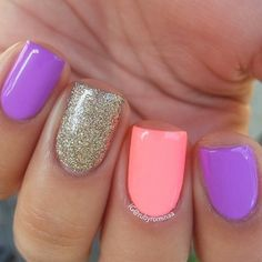 Cute bright nails for summer Get Nails, Fancy Nails, Love Nails, How To Do Nails, Fabulous Nails, Gorgeous Nails, Pretty Nails, Best Acrylic Nails, Acrylic Nail Designs