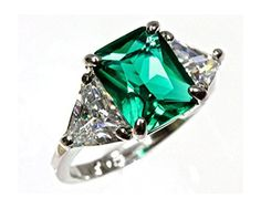 7x9mm 14k White Gold 3 Stone Emerald Trillion Cut Cubic Zirconia Engagement Ring (Sizes 4-10) - http://www.loveuniquerings.com/rings-for-women/7x9mm-14k-white-gold-3-stone-emerald-trillion-cut-cubic-zirconia-engagement-ring-sizes-4-10/