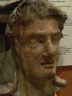 Etruscan Head from terracotta sarcophagus Tarquinia 3rd century BCE