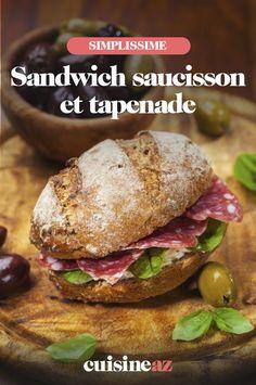 Ce sandwich au saucisson et à la tapenade est préparé avec une tapenade d'olives noir maison. #recette#cuisine#sandwich#saucisson #tapenade Tapenade Olive, Olives, Chicken, Ethnic Recipes, Black People, Home, Cubs