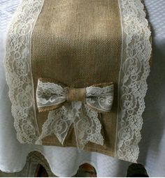 Burlap and lace runner, burlap runners for weddings and receptions. Your mom must sew these. Lace Table Runners, Burlap Table Runners, Burlap Projects, Burlap Crafts, Burlap Lace, Hessian, Wedding Burlap, Burlap Weddings, Camo Wedding