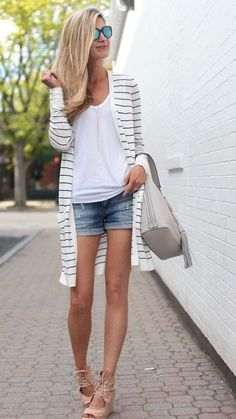 Summer outfit denim shorts ankle wedges white tee striped cardi #womensfashionoutfitsspring