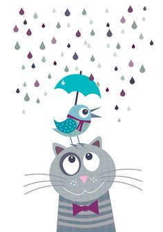 Nursery art print with bird and cat gray blue by Lespetitsbuttons Baby Nursery Decor, Baby Decor, Kids Decor, Nursery Art, Art Wall Kids, Art For Kids, Cat Posters, Art Mural, Grafik Design