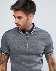 Polo Shirt In Silver Metallic Fabric With Silver Tipping And Ring Pull Polo Vest, Polo Rugby Shirt, Mens Polo T Shirts, Men's Polo, Camisa Polo, Mens Golf Fashion, Polo Fashion, Polo Shirt Style, Gym Outfit Men