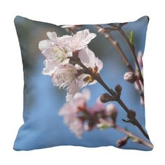 Pretty Floral Throw Pillow, Delicate White & Pale Pink Peach Blossoms, against a crisp blue sky background. (See my other peach blossom designs if you are looking for a coordinating set!)