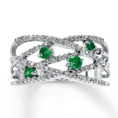 Jared - Natural Emerald Ring 1/5 ct tw Diamonds 10K White Gold ooh love this