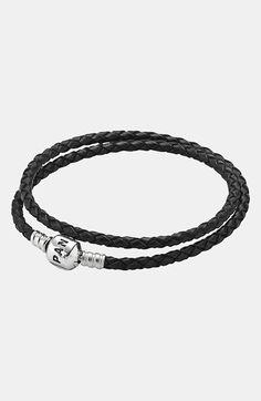 PANDORA Leather Wrap Charm Bracelet   Nordstrom