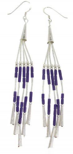 Hook Dangle Sugilite Sterling Silver Earrings JW65390