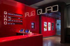 Logo, custom typography, signage, environmental graphics and digital installations by Pentagram for New York's Quad Cinema