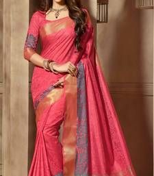 Buy Red woven cotton_silk saree with blouse banarasi-silk-saree online