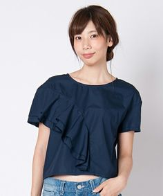 LAYMEE(レイミー)のFort flare tops(Tシャツ/カットソー)|ネイビー