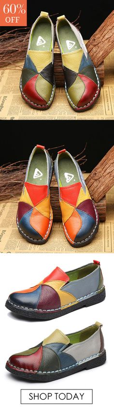 SOCOFY Handmade Casual Leather Soft Flat Loafers. #flats #shoes #fashion