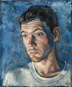 Daniel Barkley Rob, Blue 2007 acrylic on canvas/acrylique sur toile 36 x 30 cm, x Figure Painting, Painting & Drawing, L'art Du Portrait, Portrait Paintings, Master Of Fine Arts, Canadian Painters, Watercolor Canvas, Watercolour, Art Of Man
