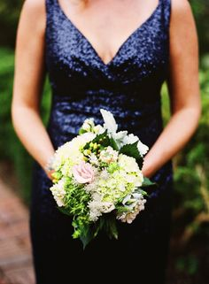 Bridesmaid in Midnight Blue Sparkle Sequin Dress. Photo by Katie Stoops