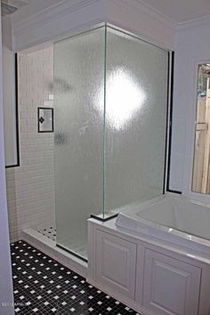 Bathroom idea for when we re-do our master bath...just with black tile with white splashes ;)