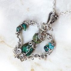 Angel - Silver & Turquoise Wire Wrapped Pendant