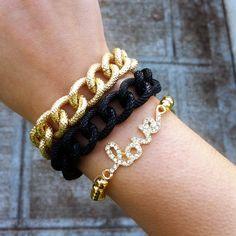 Double Wrap Black & Gold Chain Link Bracelet