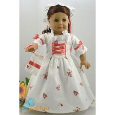 AllYourDollNeeds -White Floral Gala Colonial Traveling School Work Spring Summer Tea Gown Dress with Pinner Cap Hat and Purse Bag Set Outfit Doll