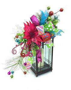 Poinsettia rosa caliente Navidad linterna botín con turquesa y Lima adornos y arco que empareja-Navidad manto - De mesa de Navidad
