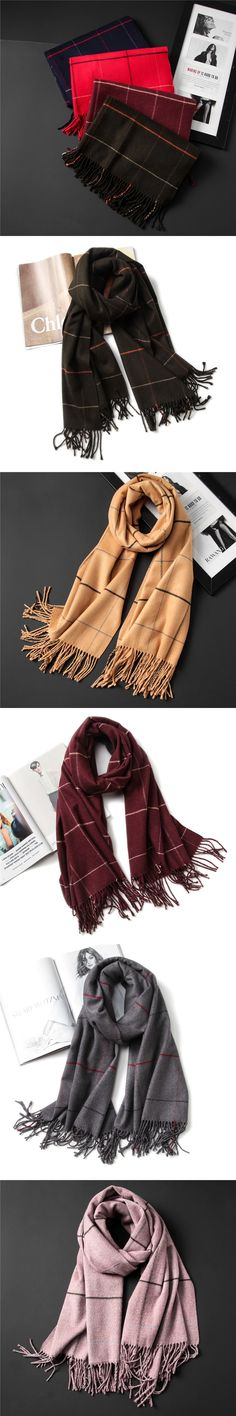 vintage 2017 luxury brand women scarf plaid warm cashmere scarves lady winter shawls and wraps pashmina bandana thick foulard